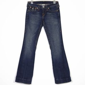 True Religion Joey Flare Dark Jeans Altered Short